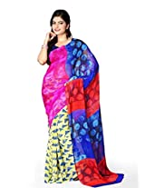 Vibes Women's Colombo Chiffon Saree with Blouse ( S37-1004A_Multi-Coloured)