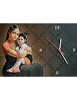 Wall Clock on Hardboard with Yashoda and Krishna Picture - Hardboard