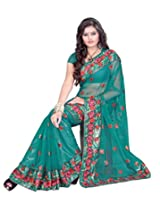 Sangam Rama Green Thred Emboidery Work Sari