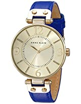 Anne Klein Women's 10/9168CHCB Gold-Tone Stainless Steel Watch with Cobalt Blue Leather Strap