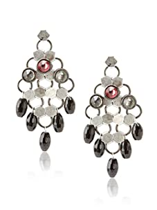 Lionette Designs by Noa Sade Red and Black Samba Dancing Mesh Earrings