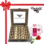 25Pc Yummy Belgium Chocolates with Rose and Card