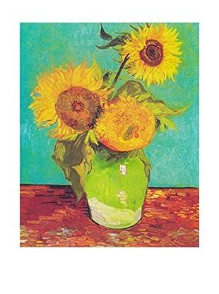 Legendarte Leinwandbild Vaso Con Tre Girasoli di Vincent Van Gogh