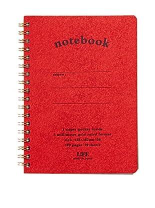 Life Co., Ltd. B6 Pocket Grid Notebook, Red