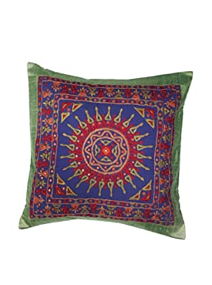 Mela Artisans Surya Silk Embellished Cushion Cover, Spring Green
