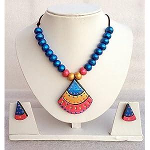 Anikalan Designs Pink duedrops Pendant Terracotta Necklace Set