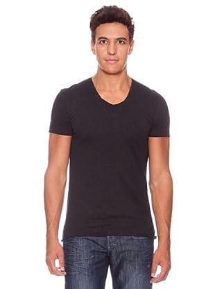 Camiseta Con Pico Manga Corta Minnesota (Negro)