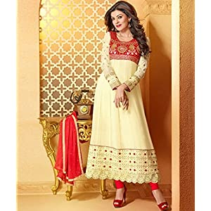 Creame Red Sushmita Sen Anarkali Suit