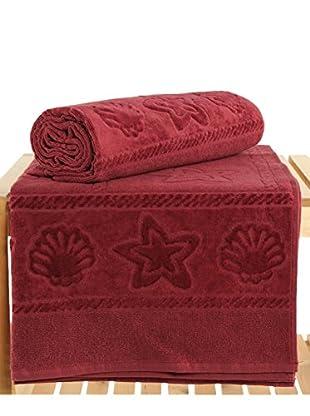 Maisonette Akdeniz 2-Piece Hand Towel Set, Claret Red