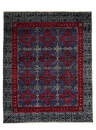 Darya Rugs Suzani Oriental Rug, Silver/Raspberry, 8' 2