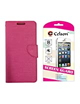 Celson Screen Guard & Flip Cover For Xiaomi Mi4i Flip Cover Case - Pink Combo
