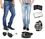 Stylox Combo of 2 Men Jeans With Watch Cardholder Aviators Belt And Wallet FH COMBO 2D MENS