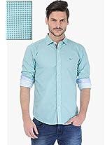 Aqua Blue Checks Slim Fit Casual Shirt Basics