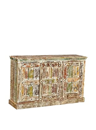 Moti Mezzanine 3-Door Buffet Reclaimed Wood, White/Multi