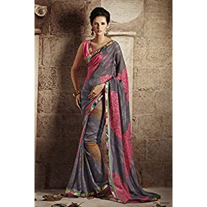 Georgette Saree in Grey and Pink Colour 1079