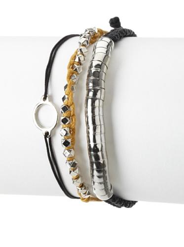 Shashi One Row Golden Nugget & Luna Snake Adjustable Bracelet Set, Black