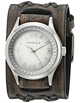 Nemesis Men's 217VDXB-S White Gradient Pointium Series Faded Black Double X Leather Cuff Band Analog Display Japanese Quartz Black Watch