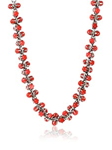 Tuleste Market Short Marbled Claw Necklace, Antique Silver/Red Cat Eye