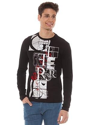 Gianfranco Ferré Camiseta Manga Larga Slim Estampado (Negro)