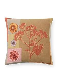 "Corona Decor Co. Jacquard Weave Floral 18"" x 18"" Down Pillow, Multi"