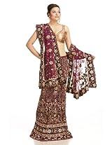 Royal lilac net lehanga unstitched