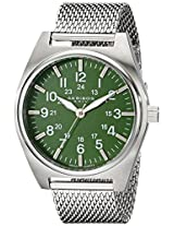 Akribos XXIV Men's AK729GN Essential Swiss Quartz Green Dial Silver-tone Stainless Steel Mesh Bracelet Watch