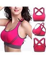 Women Yoga Padded Bra Racerback Top Athletic Gym Fitness Stretch Vest Sports (Color: Rose red)