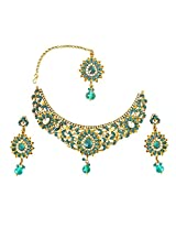 Blue & White Coloured Stone & Gold Plated Necklace Earring & Manga Tikka Set for Women