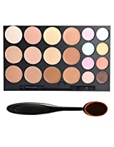 DE'LANCI Professional 20 Colors Face Cream Concealer Camouflage Foundation Palette Professional Makeup Kit Set with Oval Make Up Brush (20 colors)
