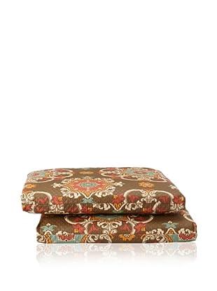 Waverly Set of 2 Sun-n-Shade Garden Crest Squared Seat Cushions (Chocolate)
