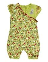 Little Kangaroos Short Sleeves Romper Green - Animal Print