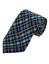 DAA7C05B Blue Checkered Working Day Designer Tie Woven Microfiber Meeting Neck Ties By Dan Smith