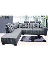 Amey Three Square Lounger Sofa RH in Fabric with wooden legs