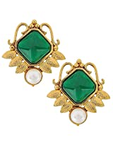 The jewelbox Faceted Green Stone 18K Gold Plated Victorian Stud Earring for Women