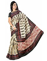 Somya Women's Bhagalpuri Silk Printed Black and Red Saree