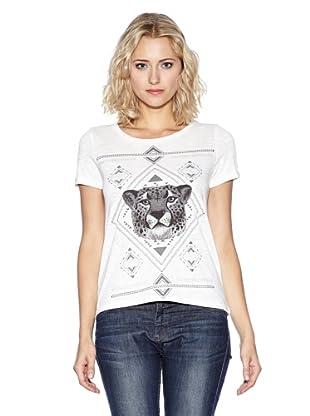 Vero Moda Camiseta Print Leopardo (Blanco)