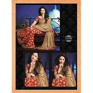 Designer Bollywood Star Tamanna Red Beige Jacquead Sari Saree Lehenga TR70