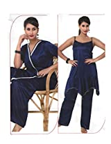 Indiatrendzs Women's Sexy Hot Nighty Navy Blue 3pc Set Bedroom Sleepwear Freesize