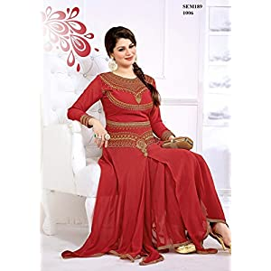 Orange Anarkali Suit With Heavy Neck Embroidery Work