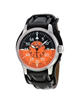 Fortis Flieger Cockpit Black and Orange Dial Black Leather Men's Watch (595.11.13 L.01)
