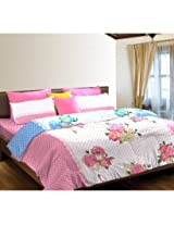 My Nest Home Portico Floral Spring Double Bedsheet With 2 Pillow Covers
