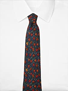 Hermès Men's Tulips Tie, Blue/Gold, One Size