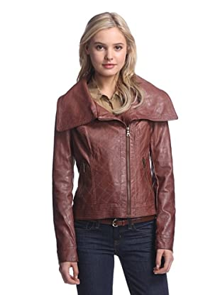 Coffeeshop Women's Faux Leather Quilted Moto Jacket (Cognac)
