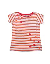 GIRLS BOAT NECK FLOWER PATCH T-SHIRT OFF-WHITE G1515109301614