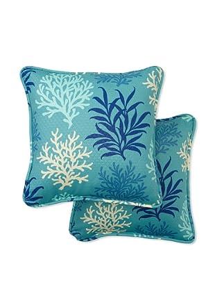 Set of 2 Marine Life Square Decorative Throw Pillows (Pool)