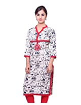 Adesa Women's Cotton Chikankari Regular Fit Kurti