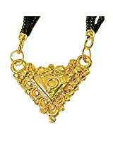 Surat Diamonds Gold Plated Mangalsutra Pendant with Black Kedia Beads Chain 30 IN for Women (MNG3)