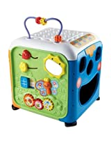 V Tech Alphabet Activity Cube These Include A Peg Maze, Put And Take Holes, Sliders, Movable Gears And More