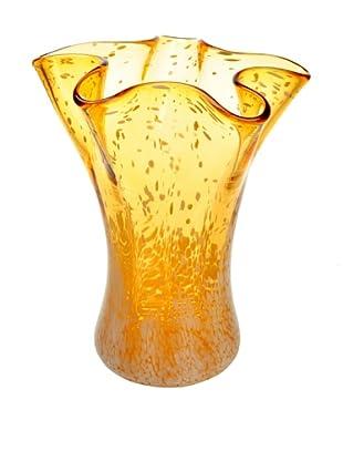 Meridian Glass Hand-Blown Flower Vase, Amber/White