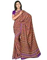 Sehgall Sarees Indian Professional Ethnic Poly Silk Crape colour purple